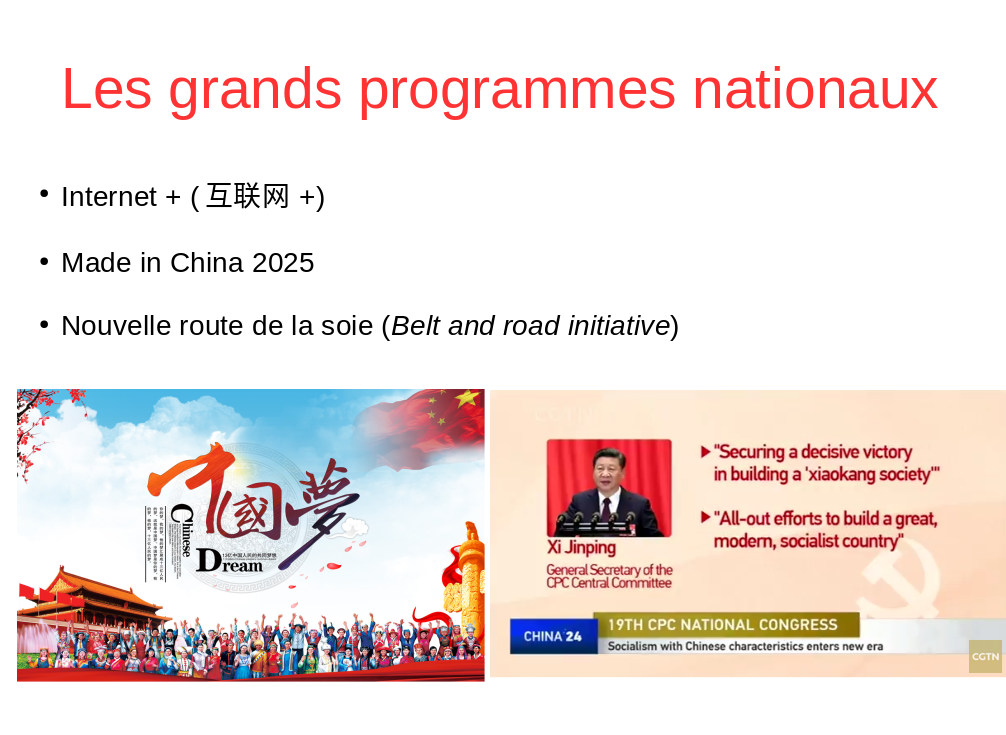 Les grands programmes nationaux chinois